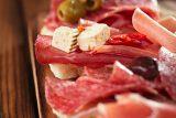 antipasti Platter of Cured Meat,   jamon, olives, sausage, salam